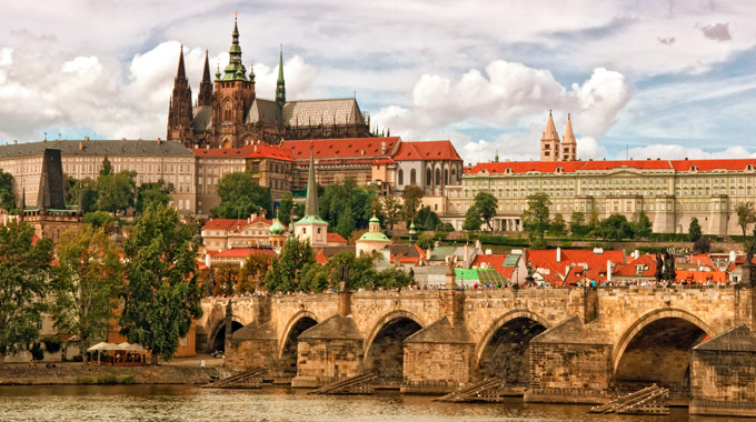 A view of Prague Castle and Charles Bridge