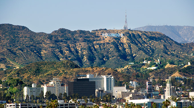 The Hollywood Sign as seen from south of Hollywood Boulevard