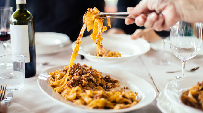Papardelle being served at a restaurant in Florence