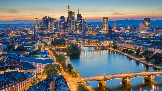 Frankfurt skyline in the evening