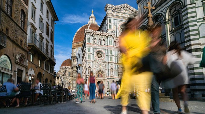 People walking near the Duomo in Florence, Italy