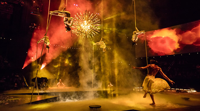 Cirque du Soleil performers during a performance