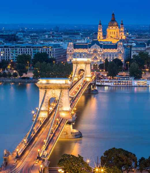 An evening view of Budapest, Hungary