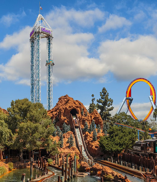 View of the skyline at Knott's Berry Farm theme park