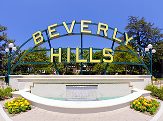 A wide-angle shot of the Beverly Hills sign