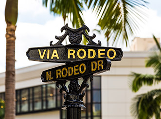 Road signs for Via Rodeo and North Rodeo Drive