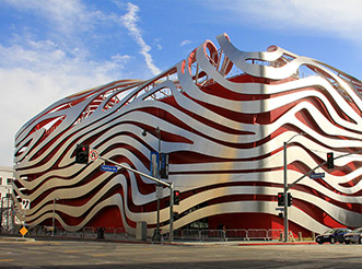 The exterior of the Petersen Automotive Museum