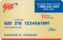 AAA Plus Membership card