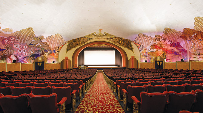 The walls of the Casino's movie theater are decorated in murals. | Photo by Vanessa Stump